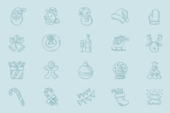 Vector sketch icon set for christmas greeting card. Set of decorative sketch icons for christmas greeting cards. Hand drawn christmas sketch icon set. Vector Royalty Free Stock Photography