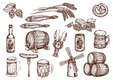 Vector sketch icons of beer snacks and brewery. Beer drink and snacks vector sketch icons. Beer mug or barrel, windmill and hop or barley wheat, fish kipper and Royalty Free Stock Images