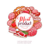 Vector sketch icons of butchery meat products Stock Photography