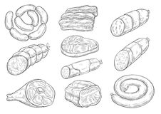 Vector sketch icons of butchery meat products. Meat products and butchery delicatessen vector sketches. Isolated bacon brisket, frankfurter or saveloy sausages Royalty Free Stock Photos