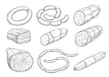 Vector sketch icons of butchery meat products. Meat products sketch vector icons. Isolated symbols of sausages, meat delicatessen of ham or bacon and barbecue Stock Photos