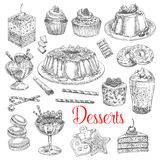 Vector sketch icons of dessert cookies and cakes Royalty Free Stock Images