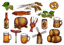 Vector sketch icons set of beer snacks and brewery. Beer snacks icons. Isolated symbols of beer drink mug and hop, barley and wheat ears, grill sausages and beer Stock Images