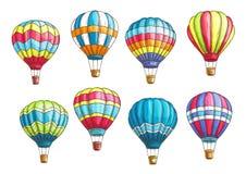 Vector sketch icons set hot air balloons pattern Royalty Free Stock Photo