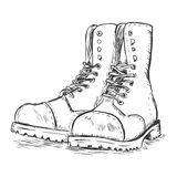 Vector sketch illustration - army boots Stock Photos