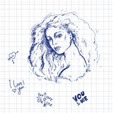 Vector sketch illustration of ballpoint pen on notebook sheet in a cage. Portrait of young beautiful girl with long thick hair, so Royalty Free Stock Photography