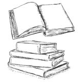 Vector sketch illustration - blank open book and stack of books Stock Images