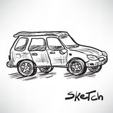 Vector sketch illustration of a car on the road Royalty Free Stock Photo
