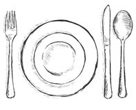Vector sketch illustration - cutlery: fork, plate, knife, spoon Stock Images