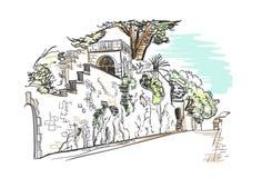 Vector sketch illustration European city Croatia town wall building royalty free illustration