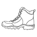 Vector Sketch Illustration - Extreme Hiking Boots. Side View. Vector Sketch Illustration - Extreme Hiking Boots on White Background Royalty Free Stock Photos