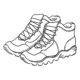 Vector Sketch Illustration - Extreme Hiking Boots. On White Background vector illustration