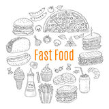 Vector sketch illustration of fast food circular shaped. With pizza, burger, hot dog, sandwiches, hamburger, soda, ice cream, French fries, donuts, taco Royalty Free Stock Photography