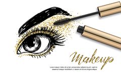 Vector sketch illustration of female eye and makeup mascara. Golden glitters eyeshadows, holiday luxury makeup. Concept for beauty salon, cosmetics label Royalty Free Stock Photography