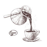 Vector sketch illustration of fresh brewed hot and flavored morning coffee from the turks poured into the cup. Drink Stock Photo