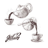 Vector sketch illustration of fresh brewed hot and flavored morning coffee from turks and tea from teapot poured into cup. Drink w. Ith splashes and steam Royalty Free Stock Image
