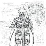 Vector sketch illustration by hand. Medieval knight in heavy metal armor and a large sword against the background of a. High fortress tower. Ancient warrior in Stock Photos