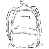 Vector sketch illustration - hipster backpack. On white background Royalty Free Stock Photo