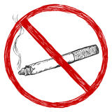 Vector sketch illustration - no smoking sign Stock Photography