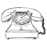 Vector Sketch Illustration - Old Rotary Phone Royalty Free Stock Photos