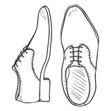 Vector Sketch Illustration - Pair of Classic Men Shoes. Top and Side View. Stock Photography