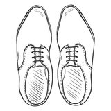 Vector Sketch Illustration - Pair of Classic Men Shoes. Top View Royalty Free Stock Photo