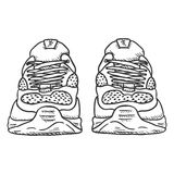 Vector Sketch Illustration - Pair of Running Shoes. Front View Royalty Free Stock Photography
