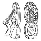 Vector Sketch Illustration - Pair of Running Shoes. Top and Side View Royalty Free Stock Photo