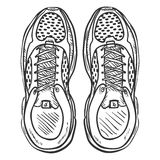 Vector Sketch Illustration - Pair of Running Shoes. Top View Stock Photo