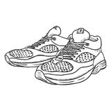 Vector Sketch Illustration - Pair of Running Shoes Stock Image