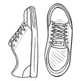 Vector Sketch Illustration - Pair of Skaters Shoes. Front and Top View Royalty Free Stock Photos