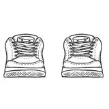 Vector Sketch Illustration - Pair of Skaters Shoes. Front View Stock Images