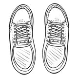 Vector Sketch Illustration - Pair of Skaters Shoes. Top View Royalty Free Stock Photo