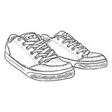 Vector Sketch Illustration - Pair of Skaters Shoes Royalty Free Stock Images