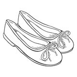 Vector Sketch Illustration - Pair of Women Ballet Flats. Vector Sketch  Illustration - Women Ballet Flats Royalty Free Stock Images