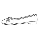 Vector Sketch Illustration - Pair of Women Ballet Flats. Side View. Vector Sketch Illustration - Pair of Women Ballet Flats Royalty Free Stock Photography