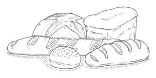 Vector Sketch Illustration - Pile of Bread Items. On White Background stock illustration