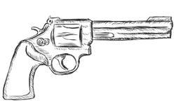 Vector sketch illustration - revolver Royalty Free Stock Image