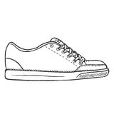 Vector Sketch Illustration - Single Side View Skaters Shoes Stock Photo