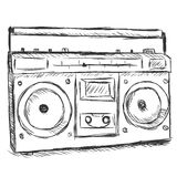 Vector sketch illustration - tape recorder Stock Photography