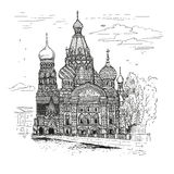 Vector sketch illustration. Tourist dostoprimechatelnost.Sobor Resurrection on Spilled Blood or Church of Our Savior in Royalty Free Stock Photography