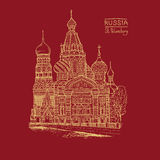 Vector sketch illustration. Tourist dostoprimechatelnost.Sobor Resurrection on Spilled Blood or Church of Our Savior in Royalty Free Stock Photos