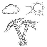 Vector sketch illustration - two palm trees, sun and clouds royalty free illustration