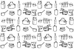 Vector sketch of kitchen utensils in the range of wallpaper Royalty Free Stock Images