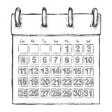 Vector Sketch Loose-leaf Calendar. On White Background Royalty Free Stock Photo