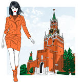 Vector sketch of the lovely fashion girl in Moscow Royalty Free Stock Photo
