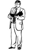 Vector sketch of a man in a jacket and tie reading report Stock Photo