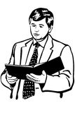 Vector sketch of a man in a jacket and tie reading reports Stock Photography