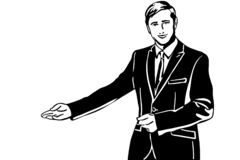 Vector sketch of a man in a suit invites with his hand. Black and white vector sketch of a man in a suit invites with his hand stock illustration