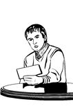 Vector sketch of a man at a table reading a note Stock Image